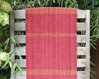 Red With Orange/Gold Stripe Handwoven Table Runner