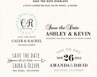 Digital Save the Date template overlays - wedding photoshop card overlays PSD
