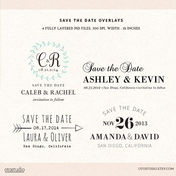 Digital Save The Date Template Overlays Wedding Photoshop
