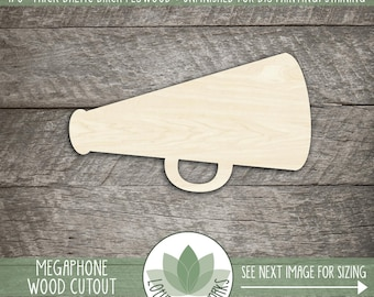 Wood Megaphone Wood Cut Shape, Unfinished Wood Megaphone Laser Cut Shape, Cheerleading Megaphone, DIY Craft Supply, Many Size Options