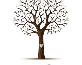 Personalised Wedding Guest Book Fingerprint Tree - Solid - DIGITAL FILE