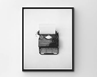 Vintage Wall Art, Vintage PRINTABLE, Vintage Typewriter, PRINTABLE, Instant Download, Black and White Photography, Vintage Photography, 8x10