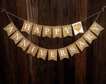 Happy anniversary banner etsy