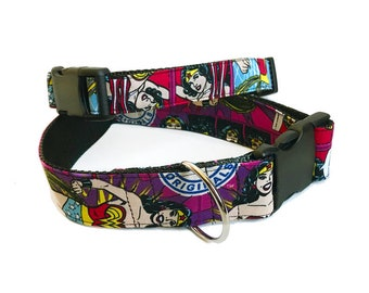 Wonder Woman! - Handmade MARTINGALE or BUCKLE dog collar