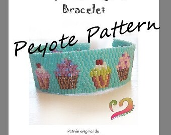 Cupcake Lovers Peyote Pattern Bracelet- For Personal Use Only PDF Tutorial , delica peyote pattern , cupcakes bracelet, cake brcelet