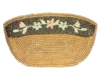 Beaded Champagne Pastel Floral Clutch Purse Bag Vintage