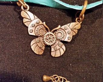 Butterfly Bracelet with Turquoise Leather Band Steampunk