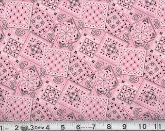 06815 -  1/2 yard of  Malone Textiles - Blazing  Bandana in bubble gum pink