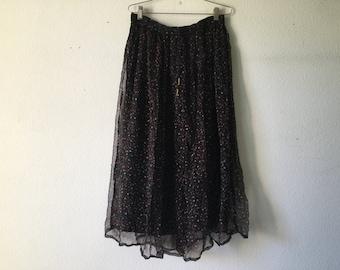 Vintage Skirt  - Drawstring Crinkle Pleats Long Maxi Sheer Broomstick Hippie Gypsy Boho Indian Festival