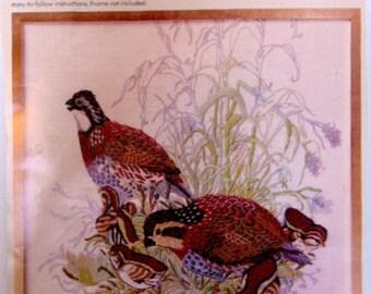 Crewel Embroidery Picture Bob White Quail  Columbia-Minerva Picture Kit
