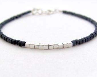 Friendship Bracelet, Charcoal Gray Bracelet, Silver Plated Cubes, Seed Bead Bracelet, Beaded Bracelet, Minimal Bracelet, Miss Ceces Jewels