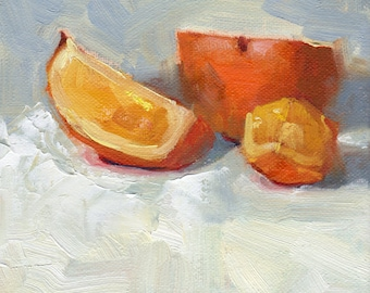 small original oil painting - fruit painting - orange painting - food art - still life - wall art