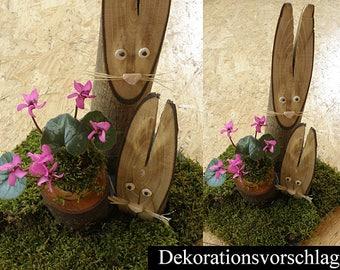 Rabbit wood set of 2