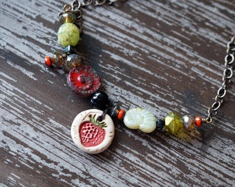 Unlisted - Strawberry Necklace - Fruit Necklace - Boho Rustic Necklace - Chain Necklace - Green and Red - Indie Jewelry - Bead Soup Jewelry