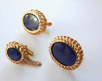 Vintage Simmons Gold Filled Blue Stone Cufflinks and Tie Tac