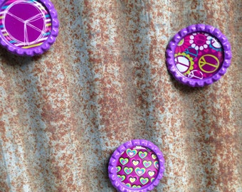 Peace & Love Bottle Cap Magnets - Set of 3