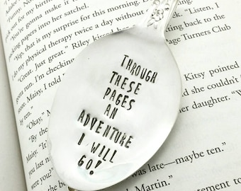 Vintage Spoon Bookmark, Through These Pages an Adventure I Will Go, Upcycled Spoon
