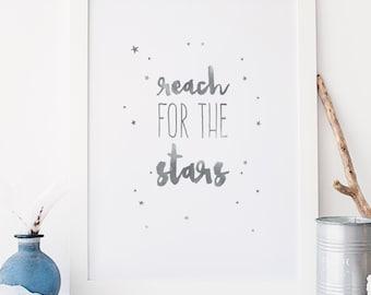 Reach for the stars Typography Grey Nursery Wall Art Print Kids Decor