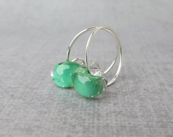 Shamrock Green Hoops Silver, Green Earrings, Silver Wire Hoops Green Glass, Sterling Silver Earrings, Green Lampwork Earrings Glass Drops