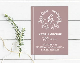 Wreath Wedding Guest Book Calligraphy Wedding Album Wedding Guestbook Personalized Hardcover Guestbook Photo Guest Book Modern Guestbook
