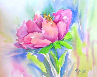 Watercolor Pink Flower 8x10 by Martha Kisling