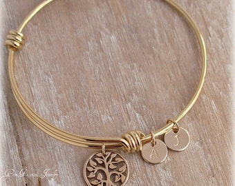 Family Tree Gold Bangle Personalized Mothers Bracelet, Custom Hand Stamped, Custom Initials, Tree of Life, Gold Bracelet, Gift for Mom
