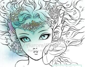 Digital Stamp - Jellyfish Dance - digistamp - Big Eye Mermaid Watching Jellyfish - Line Art for Cards & Crafts by Mitzi Sato-Wiuff