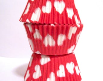 Red with White Hearts Cupcake Liners- Choose Set of 50 or 100