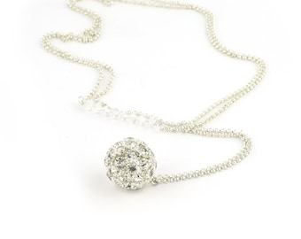 Long Pendant Necklace with Silver Crystal Ball Pendant on Long Silver Chain with Swarovksi Crystals