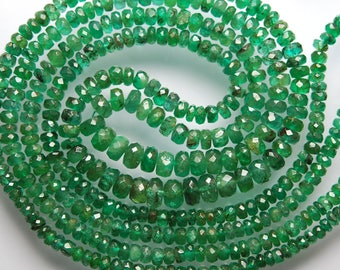 2 Strands Lot, Super Quality, Natural Dark Green Emerald, Natural African Zambian Emerald Faceted Rondelles, Size 3-6mm