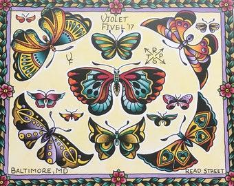 Tattoo Flash Butterflies