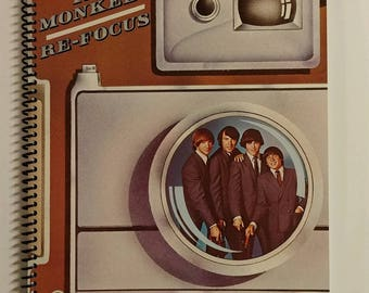 """Monkees Spiral Notebook Hand Made from Recycled Vinyl Record Album Cover """"Re-Focus"""""""