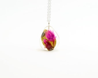 Real pressed flower necklace, real flower jewelry, flowers preserved in resin necklace, flower gift for her, wedding bouquet preservation
