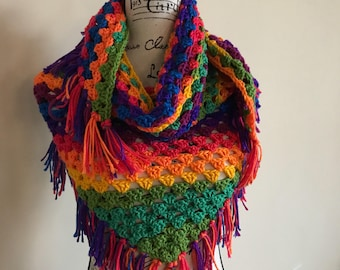 Handmade Crochet Granny Square Triangle Scarf Ready to Ship