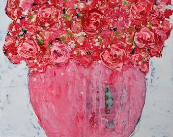 Pink Floral Art Painting Print. Flower Wall Art Digital Print. Cottage Chic Art Decor. Valentine's Girlfriend Gift. 240