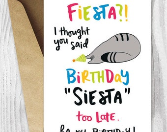 Funny Cat Birthday Cards Instant Download, Birthday Siesta Funny Printable Birthday Cards, Tabby Cat Card Digital Download, Birthday Fiesta