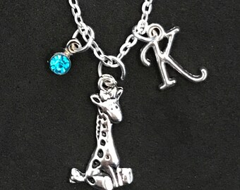 Giraffe Initial Necklace Giraffe Initial Jewelry