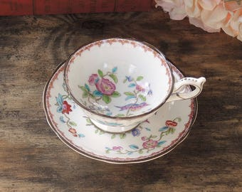 Coalport English Bone China Ornate Tea Cup and Saucer Pembroke Scalloped Edge Floral Tea Party Gifts for Her Wedding