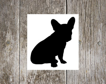 French Bulldog Sitting v1 Dog Breed Silhouette Custom Vinyl Decal Sticker - Choose your Color and Size