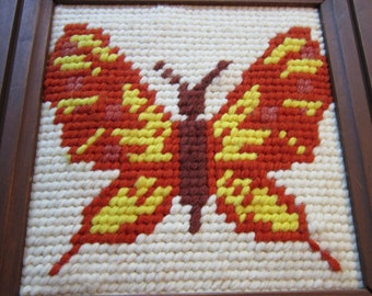 Vintage Framed Butterfly Needlepoint Orange And Yellow Wooden Frame Ready To Hang