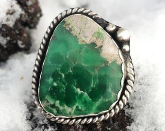 Large Green Utah Variscite Handmade Sterling Silver Ring. Southwestern Jewelry. Size 7.5