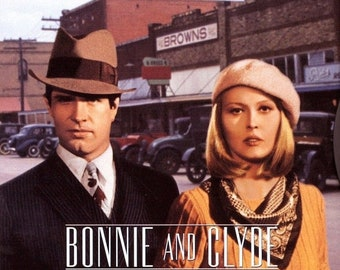 Spring Sales Event: BONNIE AND CLYDE Movie Poster 1967 Warren Beatty Faye Dunaway Gangster Mafia Mob