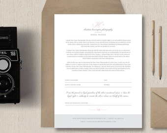 INSTANT DOWNLOAD - Photography Model Release Form Template - Branded Photography Forms - Model Release Template - Eucalyptus