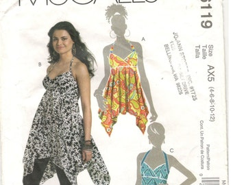 McCall's 6119 Size 4, 6, 8, 10, 12  Womens empire waist top / tunic pattern, halter neckline, bust darts, wrap style bodice, hankerchief hem