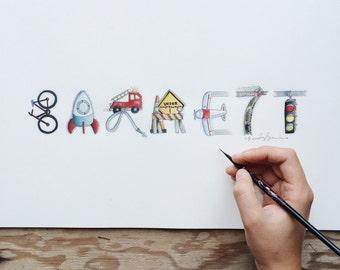 Transportation Name Art- Nursery/ Children's Art- Cars, Trains, Planes Theme- Handmade- Home Decor