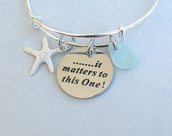 "Starfish Story , Genuine Sea Glass  Bangle - Stainless Steel  "" It Matters to This One "" Charm Bangle , Adjustable Stainless Steel Bangle"