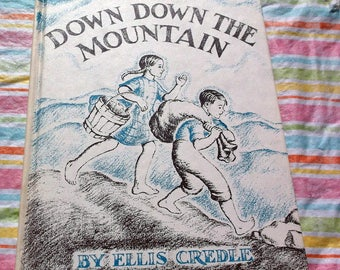 Vintage 1961 Down Down the Mountain by Ellis Credle a Weekly Reader Book Club book Excellent condition