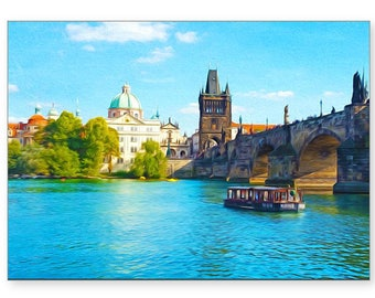 Photo Greeting Card, Prague Travel, Charles Bridge, Handmade Card, All Occasion Card, 5x7 Blank Card, Fine Art Print, Photo Note Cards