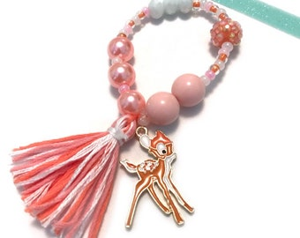 Coral Fawn Charm Bracelet - spring outfit, bambi charm, coral jewelry,  beaded bracelet, coral bracelet, toddler jewelry