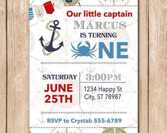 Nautical Birthday Invitation | Crab, Sailor, Captain - 1.00 each printed
